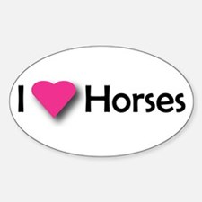 I LUV HORSES Oval Decal