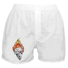 White Flaming Skull Boxer Shorts