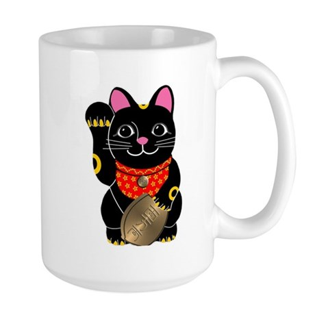Black Maneki Neko Large Mug