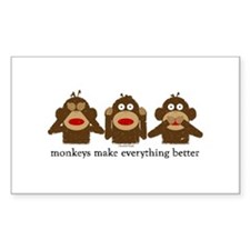 3 Wise Sock Monkeys Rectangle Decal