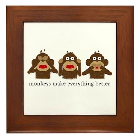 3 Wise Sock Monkeys Framed Tile