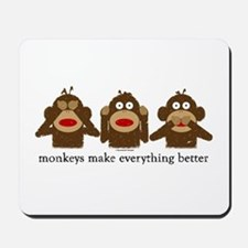 3 Wise Sock Monkeys Mousepad