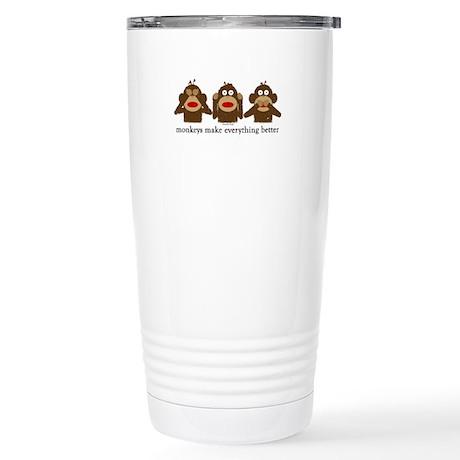 3 Wise Sock Monkeys Stainless Steel Travel Mug