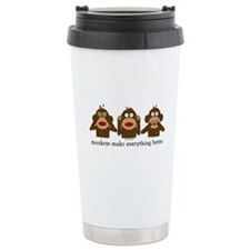 3 Wise Sock Monkeys Travel Mug