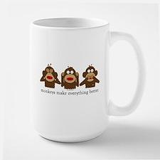 3 Wise Sock Monkeys Ceramic Mugs