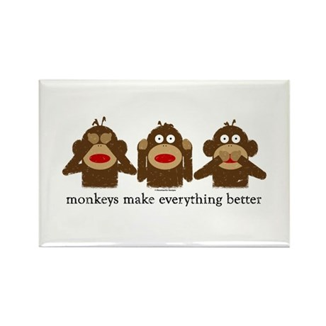 3 Wise Sock Monkeys Rectangle Magnet