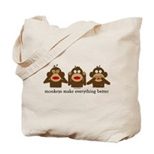 3 Wise Sock Monkeys Tote Bag