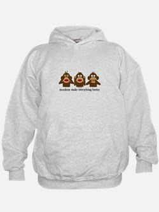 3 Wise Sock Monkeys Hoodie