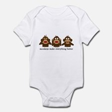 3 Wise Sock Monkeys Infant Bodysuit