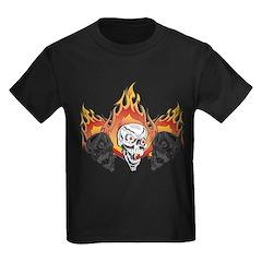 White Flaming Skull T