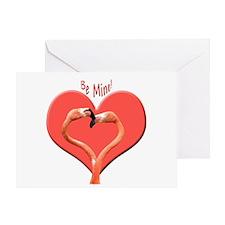 Helaine's Be Mine Flamingos Greeting Card