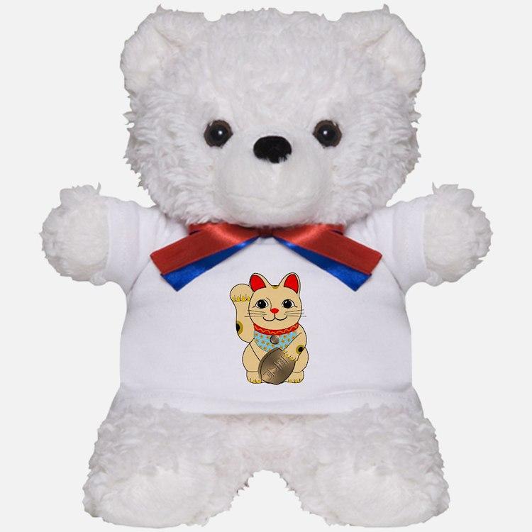 Gold Maneki Neko Teddy Bear