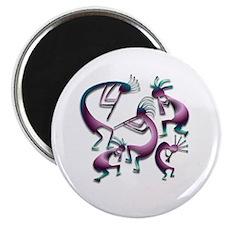 Five Purple Metalic Kokopelli Magnet