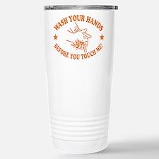 Wash Your Hands! Orange Stainless Steel Travel Mug