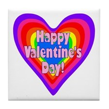 rainbow heart valentine 1 Tile Coaster