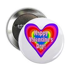 """rainbow heart valentine 1 2.25"""" Button"""