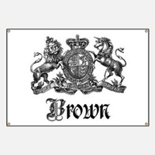 Brown Vintage Crest Family Name Banner