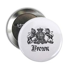 """Brown Vintage Crest Family Name 2.25"""" Button"""
