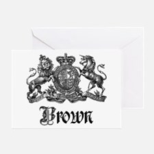 Brown Vintage Crest Family Name Greeting Card