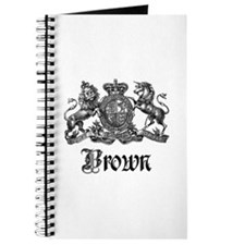 Brown Vintage Crest Family Name Journal