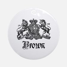 Brown Vintage Crest Family Name Ornament (Round)