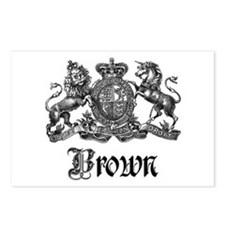Brown Vintage Crest Family Name Postcards (Package