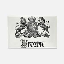 Brown Vintage Crest Family Name Rectangle Magnet