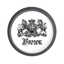 Brown Vintage Crest Family Name Wall Clock