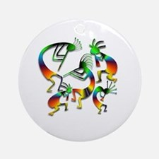 Five Kokopelli Jam Session Ornament (Round)