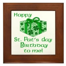 St Pats Birthday with Gift Framed Tile