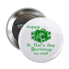 "St Pats Birthday with Gift 2.25"" Button (10 pack)"