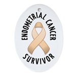 Endometrial Cancer Survivor Oval Ornament