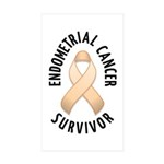 Endometrial Cancer Survivor Rectangle Sticker 10