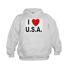 I Love U.S.A. (Front) Hoodie