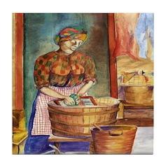 Wash woman Tile Coaster