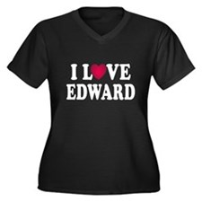 I L<3VE Edward Women's Plus Size V-Neck Dark T-Shi