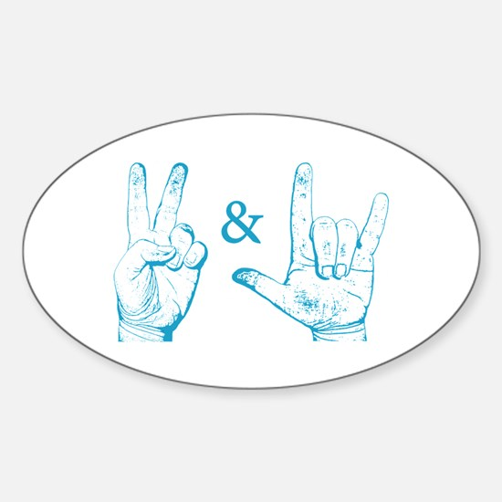 Peace & Love Sign Oval Decal