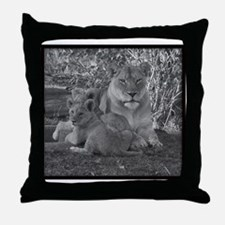 """""""momma lion and cubs"""" Throw Pillow"""