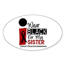 I Wear Black For My Sister 9 Oval Decal