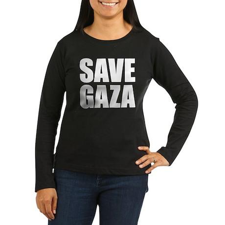 SAVE GAZA Women's Long Sleeve Dark T-Shirt