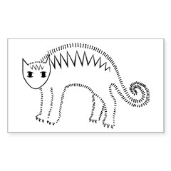 Mad Stripey Kitty Rectangle Sticker 10 pk)