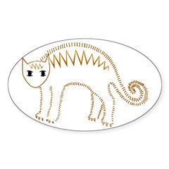 Mad Orange Kitty Oval Decal