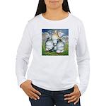 Owl Pigeons In Field Women's Long Sleeve T-Shirt