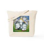 Owl Pigeons In Field Tote Bag