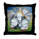 Owl Pigeons In Field Throw Pillow