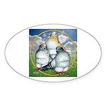 Owl Pigeons In Field Oval Sticker (50 pk)
