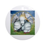 Owl Pigeons In Field Ornament (Round)