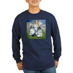 Owl Pigeons In Field Long Sleeve Dark T-Shirt