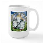 Owl Pigeons In Field Large Mug
