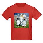 Owl Pigeons In Field Kids Dark T-Shirt